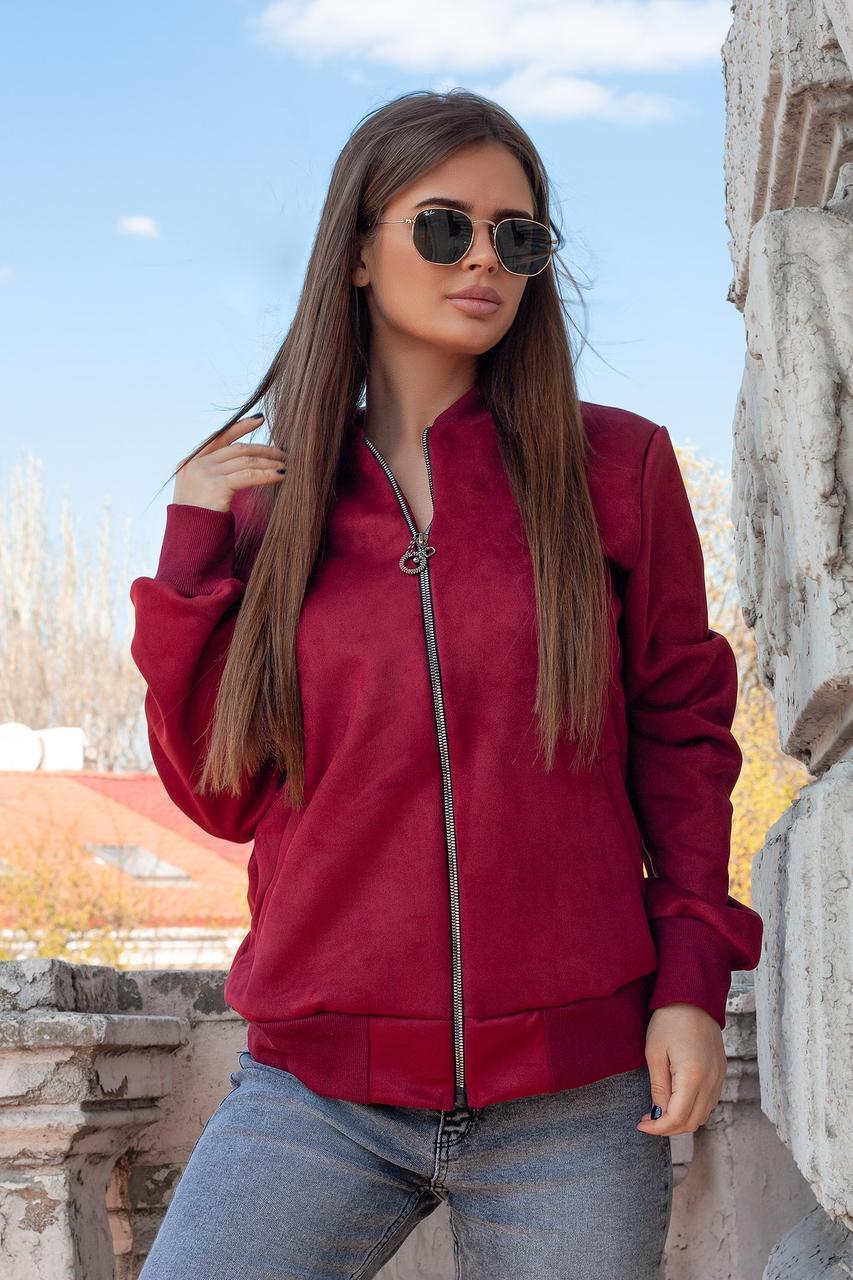 Молодежная женская ветровка куртка бомбер из искусственного замша на змейке