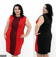 Платье трикотажное с отделкой из черного кружева,красное 50,52,54,56