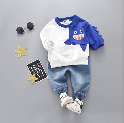 Стильный  костюм двойка  на мальчика с джинсами весна-лето  2-3 года бело-синий, фото 2