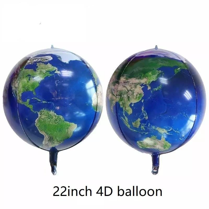 Фольгированный шар сфера 4D планета земля 55 см.
