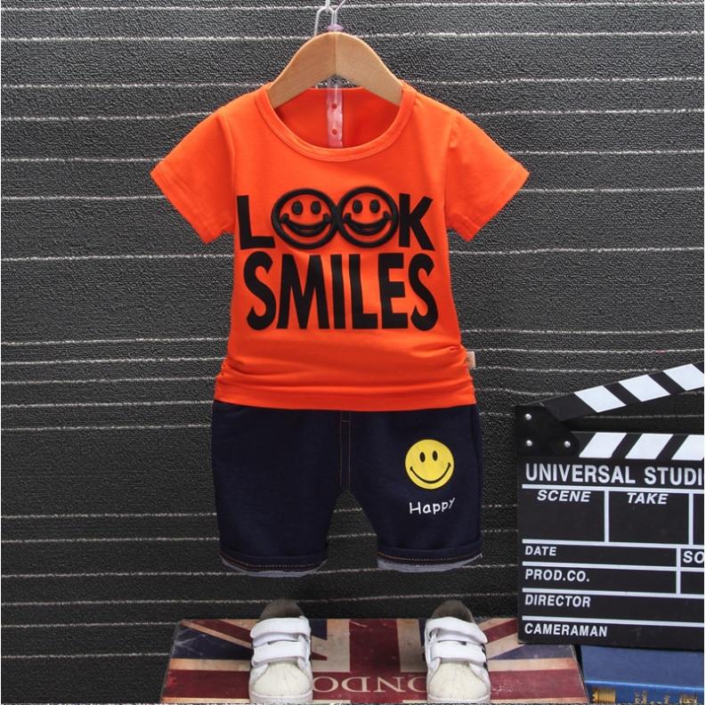 Летний костюм на мальчика  футбока +шорты 1-4 года Смайл оранжевый