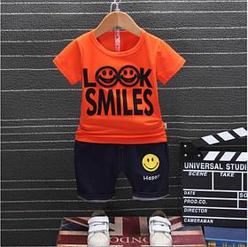 Літній костюм на хлопчика футбока +шорти 1-4 роки Смайл помаранчевий
