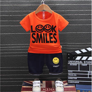 Летний костюм на мальчика  футбока +шорты 1-4 года Смайл оранжевый, фото 2