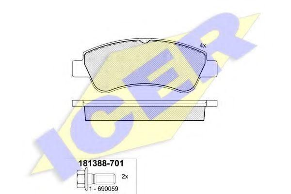 Тормозные колодки передние Fiat Doblo | 05-09 | Bosch большие | ICER