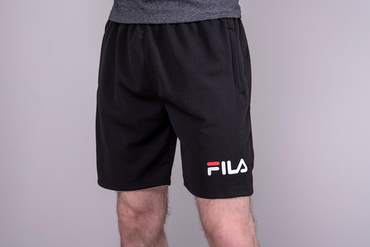 Чоловічі спортивні шорти (тканина-лакоста) FILA, чорного кольору