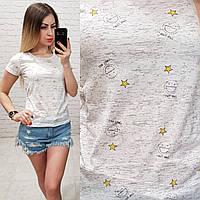 Женская футболка летняя Oversize one size качество турция размер универсал сублимация смайлик цвет серый, фото 1