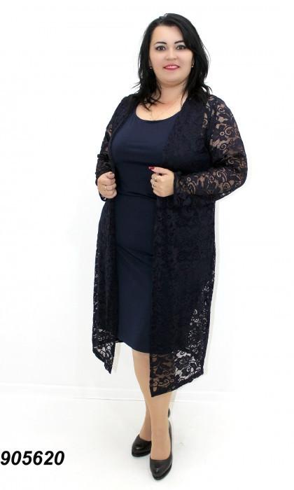 Платье летнее, с гипюровым кардиганом,темно-синее 50,52,54,56
