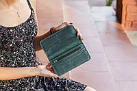 Портмоне натуральная кожа ручная работа Boorbon 206 зеленый кошелек для карт денег монет подарок женский муж