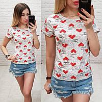 Женская футболка летняя Oversize one size качество турция размер универсал сублимация сердечка цвет серый, фото 1