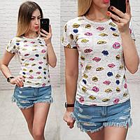 Женская футболка летняя Oversize one size качество турция размер универсал сублимация губы цвет серый, фото 1