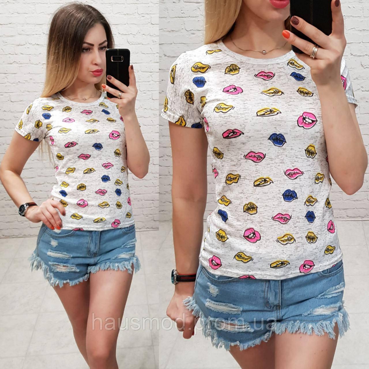 Женская футболка летняя Oversize one size качество турция размер универсал сублимация губы цвет серый