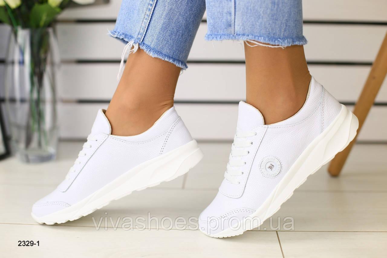 03c38648 Женские кожаные кроссовки белые перламутровые, с белыми шнурками 37, цена 1  590 грн., купить в Киеве — Prom.ua (ID#968968586)