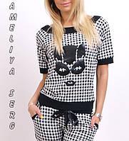 Гламурный турецкий спортивный костюм женский черно-белый стильный реглан  S M L XL XXL , фото 1