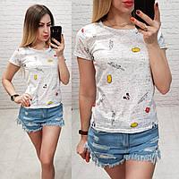 Женская футболка летняя Oversize one size качество турция размер универсал  цвет серый, фото 1