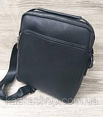 Мужская сумка через плечо черного цвета из искусственной кожи, один отдел 20х25 см, фото 2