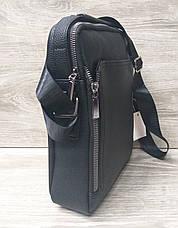 Мужская сумка через плечо черного цвета из искусственной кожи, один отдел 20х25 см, фото 3