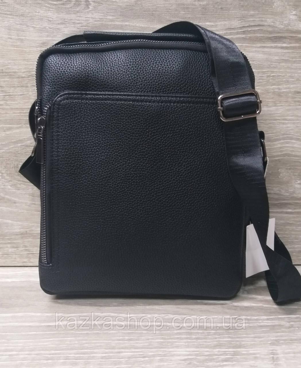 Мужская сумка через плечо черного цвета из искусственной кожи, один отдел 20х25 см