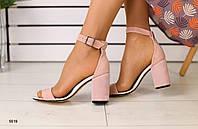 Женские  замшевые  пудровые босоножки 39