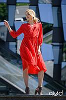 Платье женское яркое красное