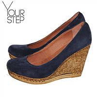 Женские замшевые туфли на танкетке, возможен отшив в других цветах кожи и замша, фото 1
