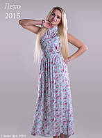 Нарядное молодежное платье длинное в пол с модным цветочным принтом из качественной ткани