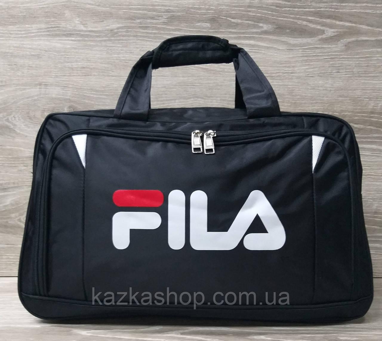 Дорожная сумка хорошего качества, накат в стиле Fila (копия), среднего размера 50х30х18 см, плотный материал