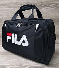 Дорожная сумка хорошего качества, накат в стиле Fila (копия), среднего размера 50х30х18 см, плотный материал, фото 3