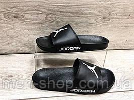 Мужские кожаные шлепанцы в стиле Jordan черного цвета