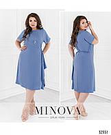 Свободное летнее платье большого размера №19-18-голубой Размеры 48,52,54,56,