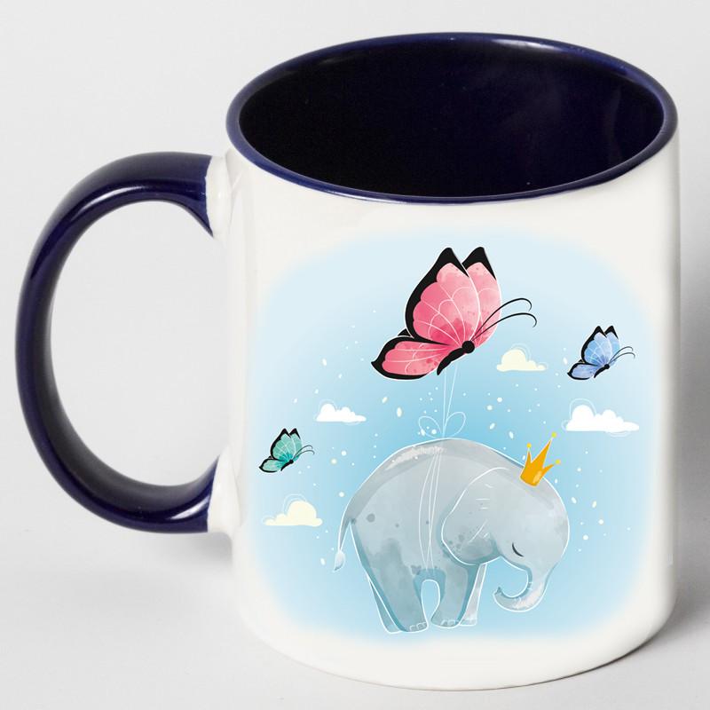 """Чашка """"Слон с бабочками"""""""