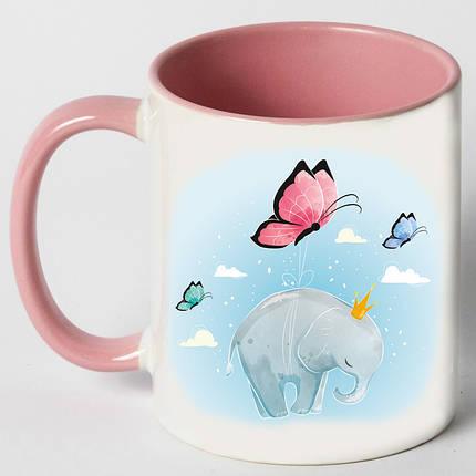 """Чашка """"Слон с бабочками"""", фото 2"""