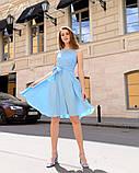 Летнее платье легкое до колен гипюр+софт с поясом размеры:42,44,46,48, фото 4
