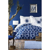 Постельное белье Karaca Home ранфорс - Belina mavi 2019-2 голубой евро