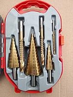 Набор ступенчатых сверл (конусных, шаговых, елочка) и сверл-фрез по металлу