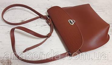 384 Натуральная кожа, Сумка кросс-боди женская рыжая коричневая , фото 3