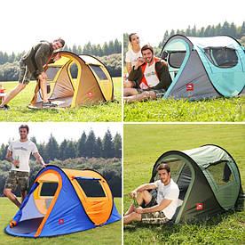 Палатка автоматическая водонепроницаемая / тент для кемпинга 3-4 чел. (+ коврик)
