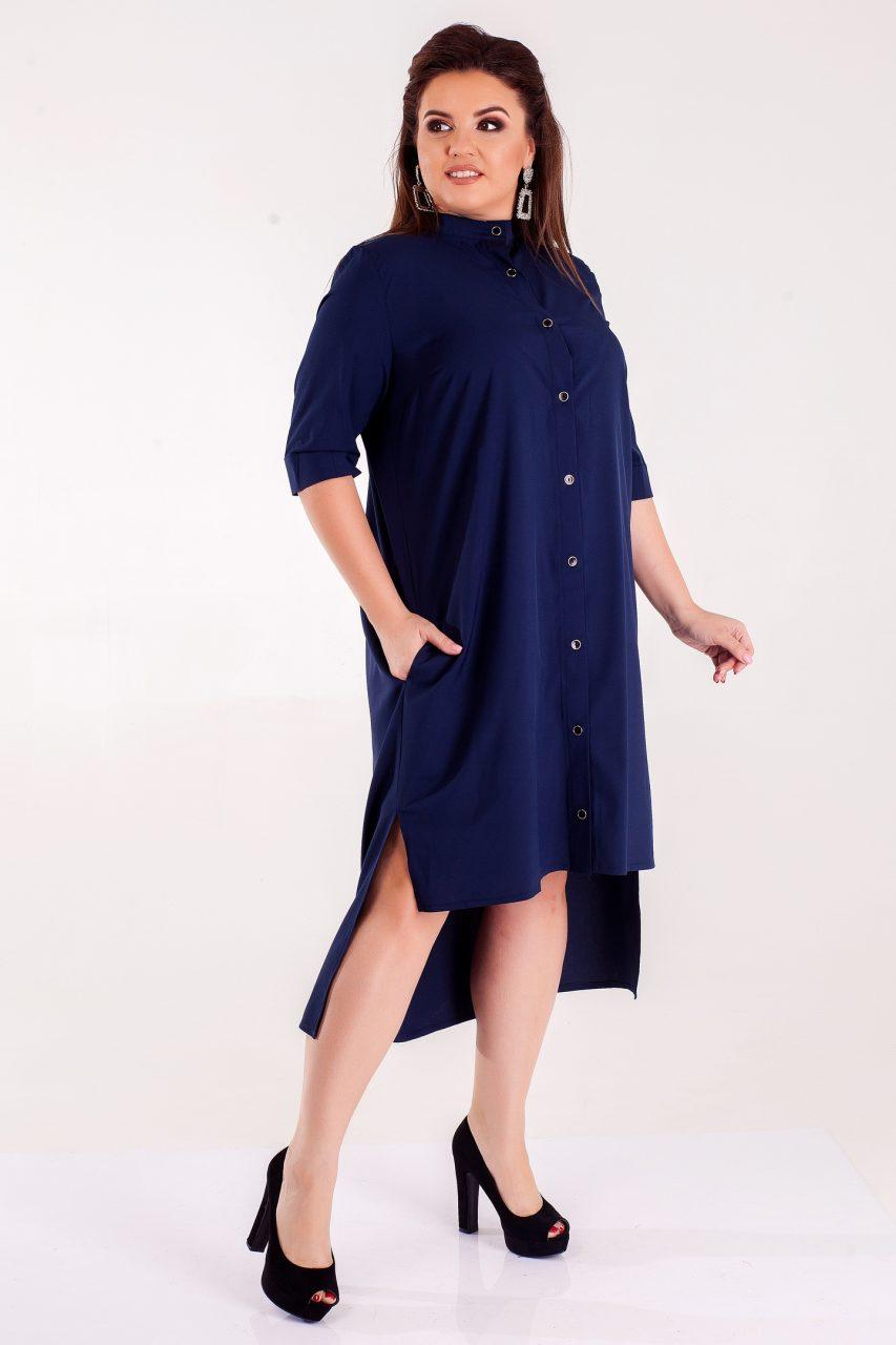Стильное летнее платье-рубашка темно-синее 8244
