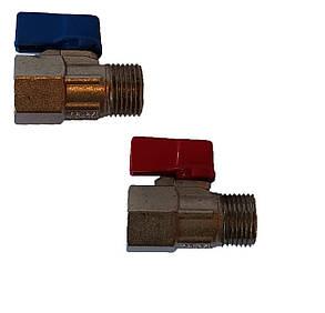 Кран шаровый мини 1/2 вн/нар (красный/синий), фото 2