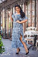 Воздушное женское летнее батальное платье макси с поясом