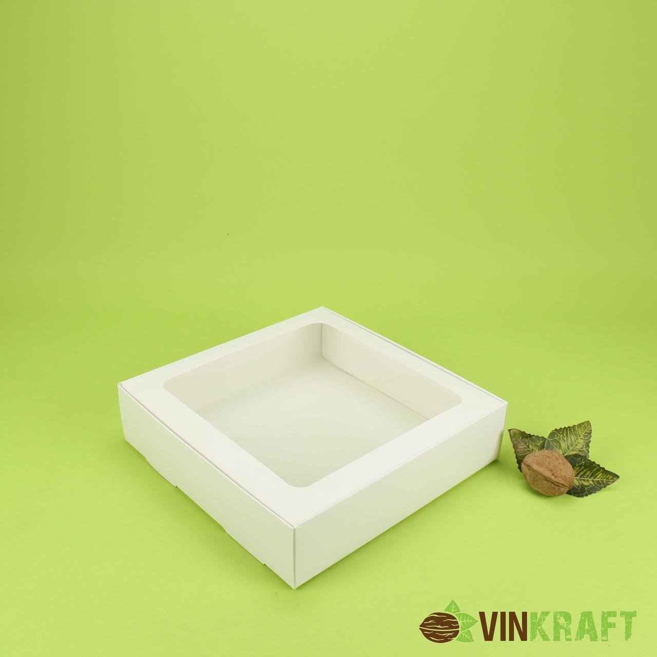 Коробка 200*200*50 для десертів з вікном, біла
