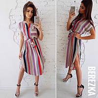 Платье летнее, легкое, повседневное в яркую полоску, удлиненное, короткий рукав с поясом