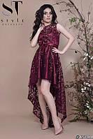 Платье женское вечернее Роскошный каскад хвост бордовое