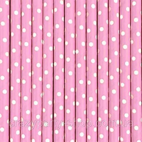 Трубочка для напитков картонная  розовая в горошек
