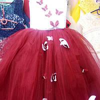"""Детское нарядное платье """"Бабочка"""". Длинное. 6-7 лет, бордовое, фото 1"""