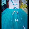"""Детское нарядное платье """"Бабочка"""". Длинное. 6-7 лет, голубое"""