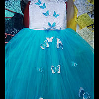 """Детское нарядное платье """"Бабочка"""". Длинное. 6-7 лет, голубое, фото 1"""