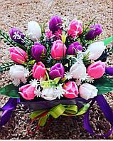 Оригинальный подарок с мыла ручной работы букет тюльпанов