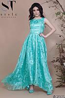 Платье женское атласное с органзой вечернее Роза мятное