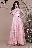 Платье женское атласное с органзой вечернее Роза розовое