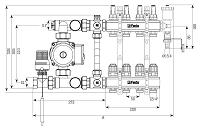 Коллектор для теплого пола на 2 контура FADO Италия со смесительным узлом, фото 2